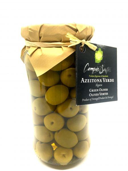 Grüne Oliven im Glas